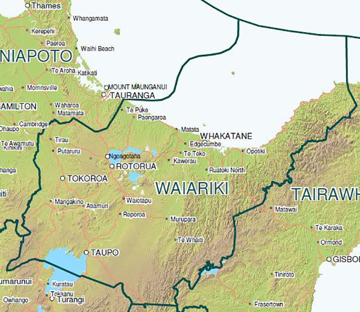 Map of Rotorua – Waiariki District